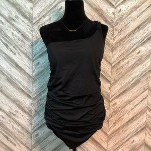 LOFT Beach One Shoulder Swimsuit, Black, size 12
